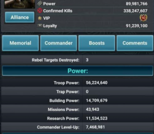 Example of another successful trap account (before the VIP changes), with their power composition- troop power is the greatest, and missions power is very, very low