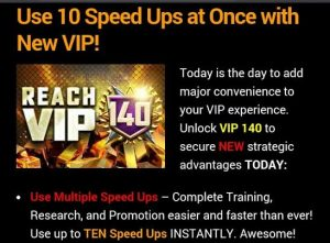 Being able to use multiple speedups per click is the main selling point of this vip level