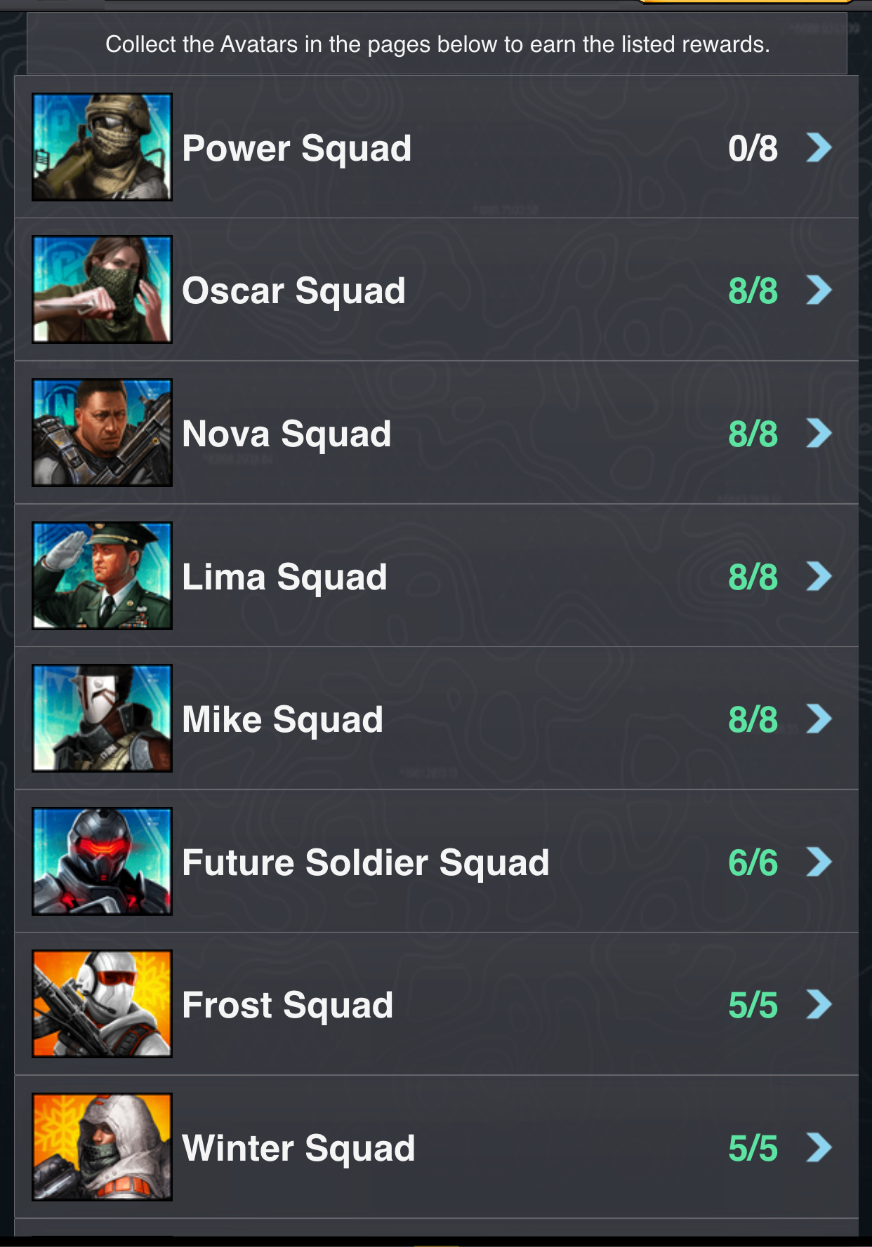 avatar collections power squad mobile strike guide